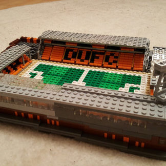 Lego model of Tannadice showing the outside of the Jim McLean and Jerry Kerr stands