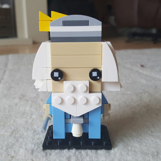 Dumbledore represented in the Lego Brickheadz style