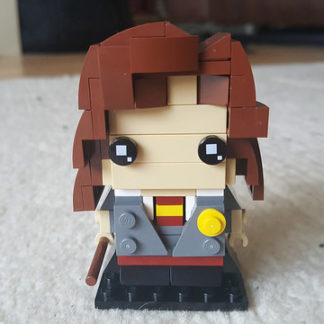 Hermione Granger represented in the Lego Brickheadz style
