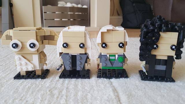 Dobby, Lucius, Draco and Bellatrix represented in the Lego Brickheadz style