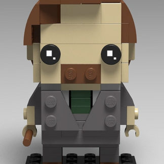Remus Lupin represented in the Lego Brickheadz style