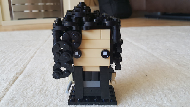 Bellatrix Lestrange represented in the Lego Brickheadz style