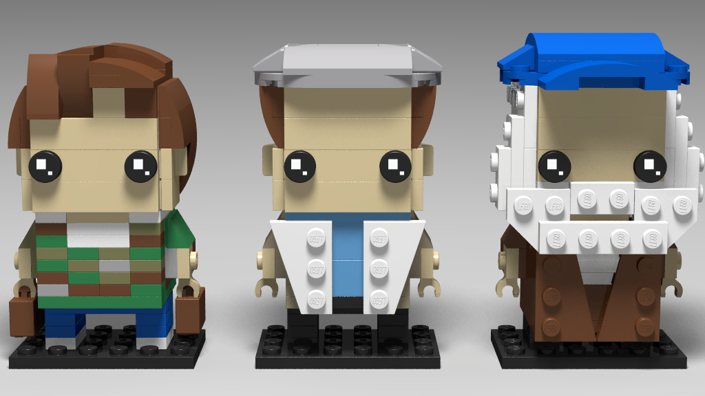 Lego Brickheadz style representation of Rodney, Del Boy and Uncle Albert from Only Fools and Horses