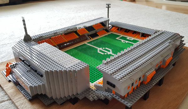 Lego model of Tannadice showing the view from the East stand/George Fox corner