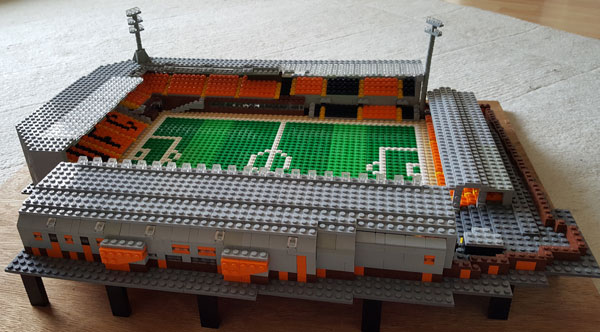Lego model of Tannadice showing the view from outside the George Fox stand