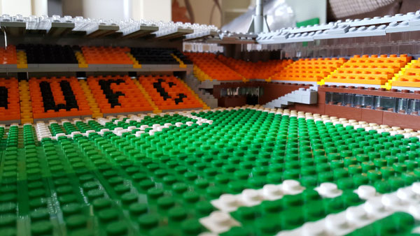 Lego model of Tannadice showing the pitch level view towards the tunnel