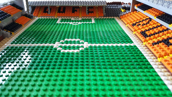Lego model of Tannadice showing the view towards the shed